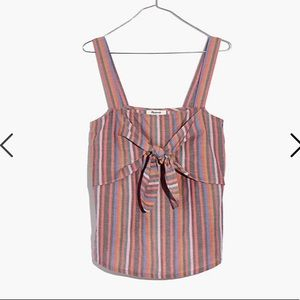 Madewell tie front cami top in rainbow stripe